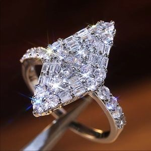 Women 925 Silver White Sapphire Wedding Ring